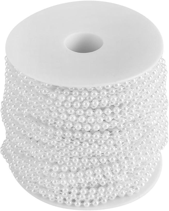 Yosoo - Collar de perlas de plástico, 40m, guirnalda de perlas–Rollo con cinta de perlas para decoración, DIY, blanco