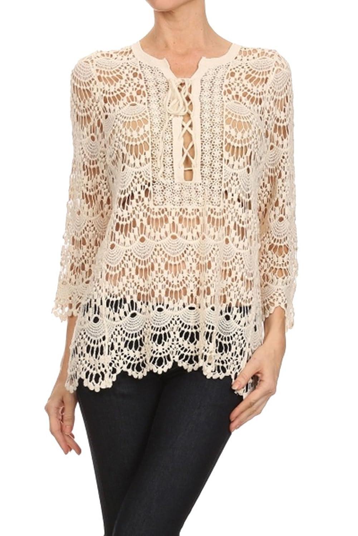 BFF Clothing Womens Textured Long Sleeve Crochet Shirts Black
