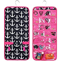 Zodaca Jewelry Hanging Travel Organizer Roll Bag, Black Anchors with Pink Trim