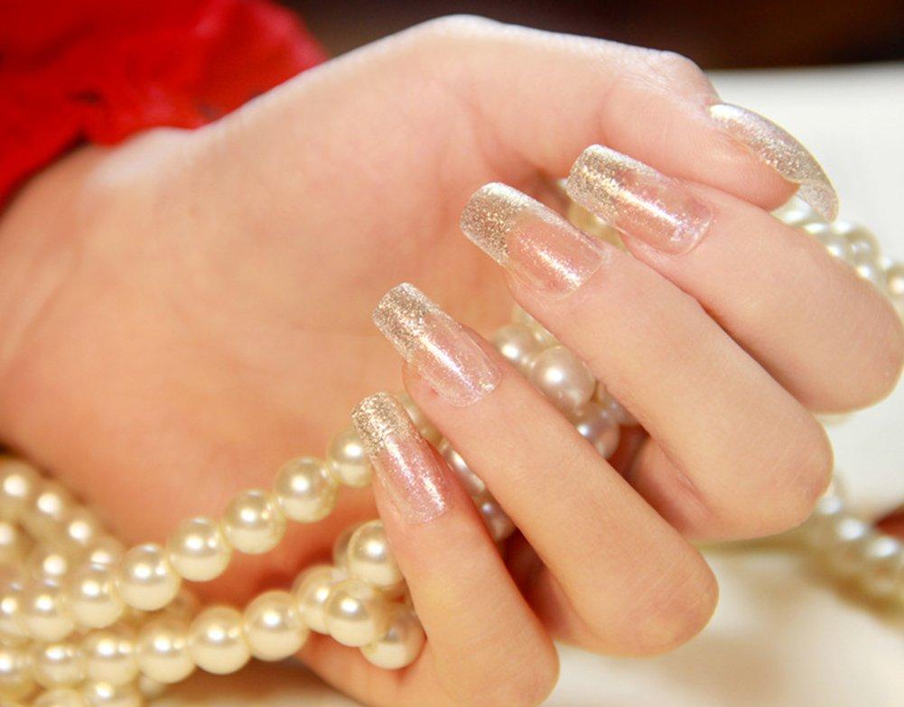 YUNAI 24pcs/set Art False Nails French Manicure Glitter Long Nail Design Nails Art Tips Transperent Nail Patch