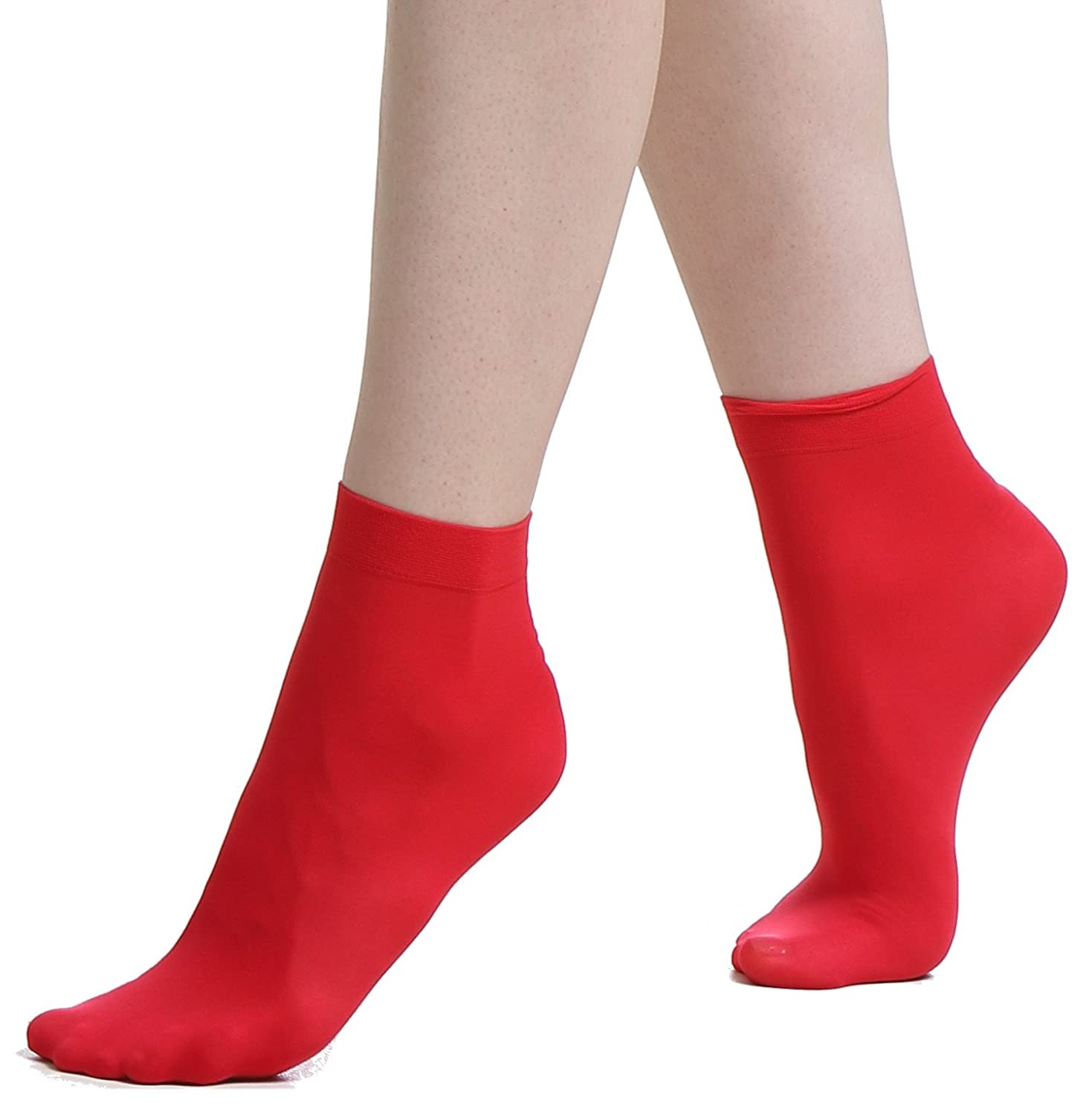 Ankle High Socks - 6 Pairs of 40 Denier Opaque Semi Sheer Premium Quality Anklets with Soft Comfort Top - Made in Europe'