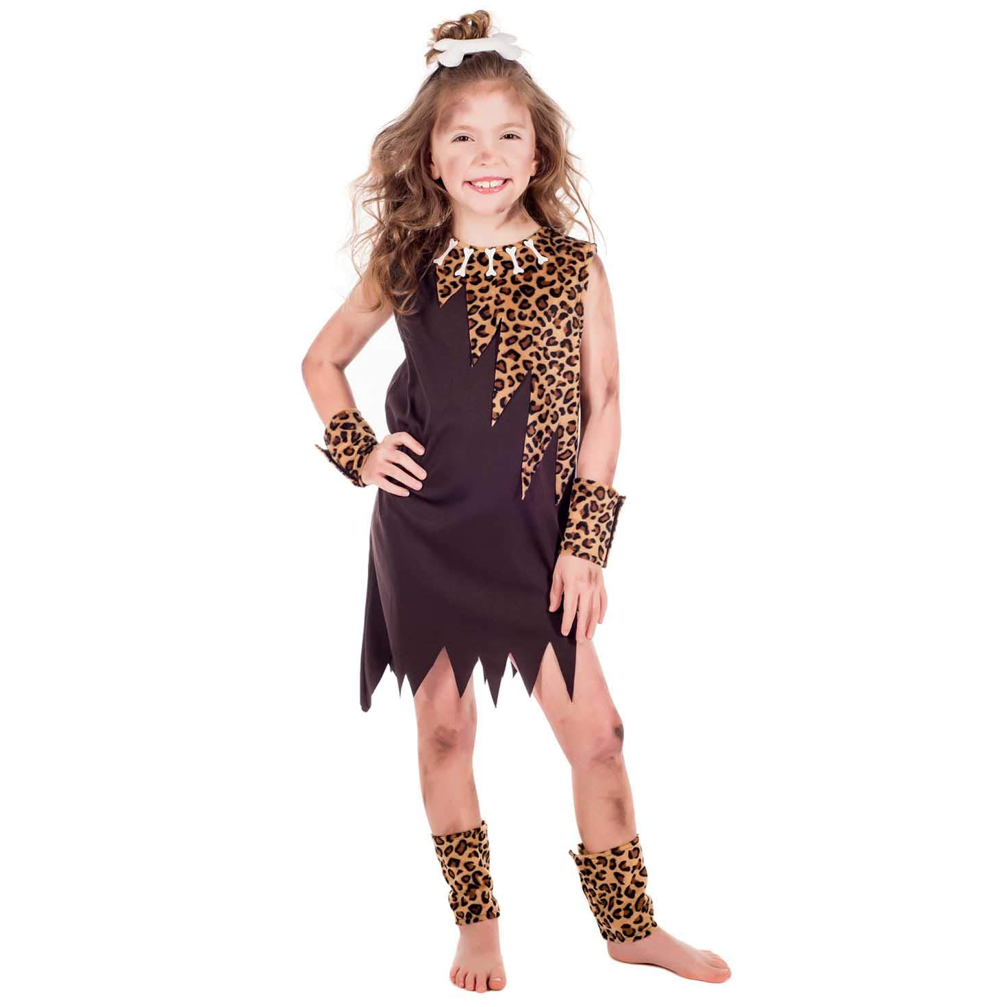 Childs Caveman Costume Boys Girls Cave Girl Boy Fancy Dress Historic Kids Outfit