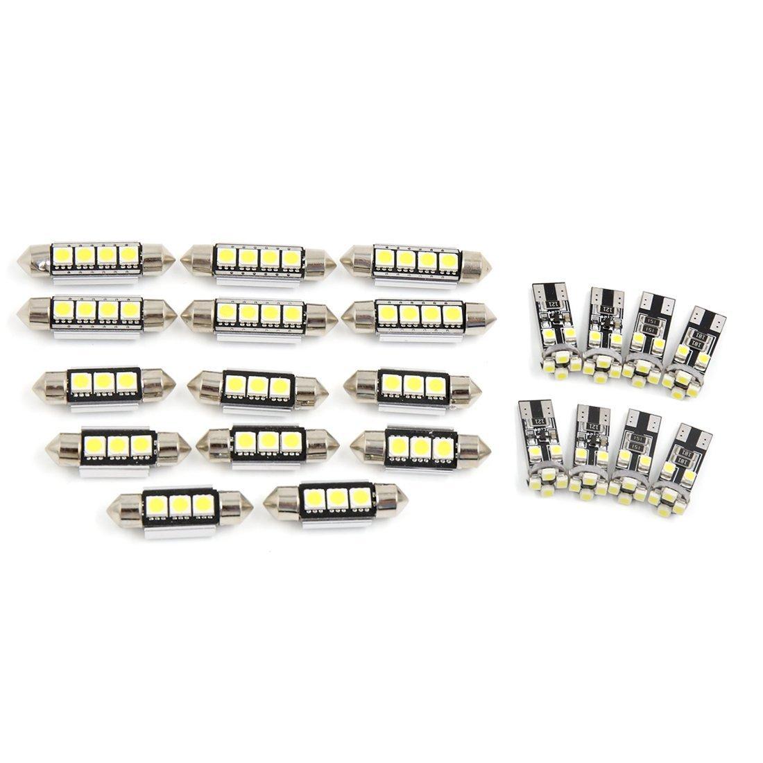 Zantec 22 pcs Blanc Festoon ampoules LED LED Inté rieur de voiture lumiè res carte Dome ampoules de lampes de lecture Ensemble pour X5 E53 2001– 2006 CANBUS QPXJSJPR125#LW07
