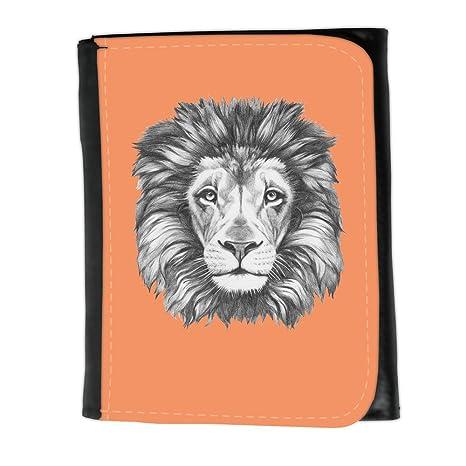Cartera para hombre // Q05160607 Dibujo león Mandarina atómica // Small Size Wallet