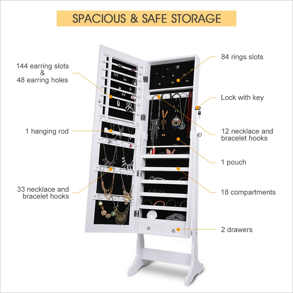 LANGRIA Mirrored Jewelry Cabinet Organizer, Full Length Standing Jewelry Storage Armoire with 2 Drawers and 3 Adjustable Angle, White Finish by LANGRIA (Image #3)