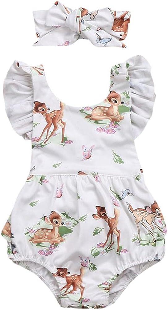 Fascia per Capelli Partito del Vestito Pigiami da Regalo di Natale per La Famiglia Homebaby 2 PCS Natale Costume Set Bambino Neonato Ragazza Ragazzo Stampa Deer Romper