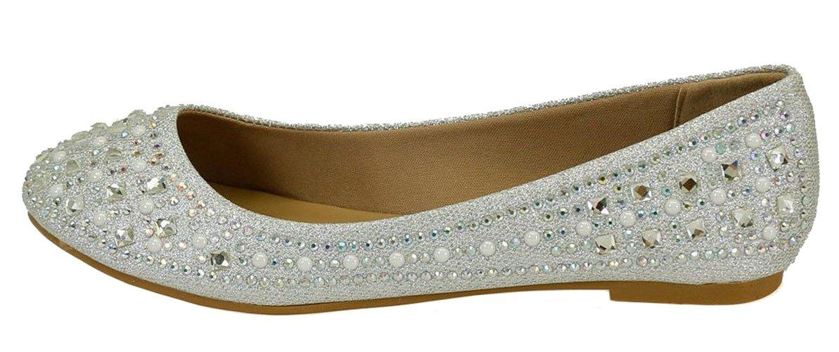 Forever Link Women's Sparkle Bead Crystal Embellished Metallic Dress Ballet Flat Silver 8