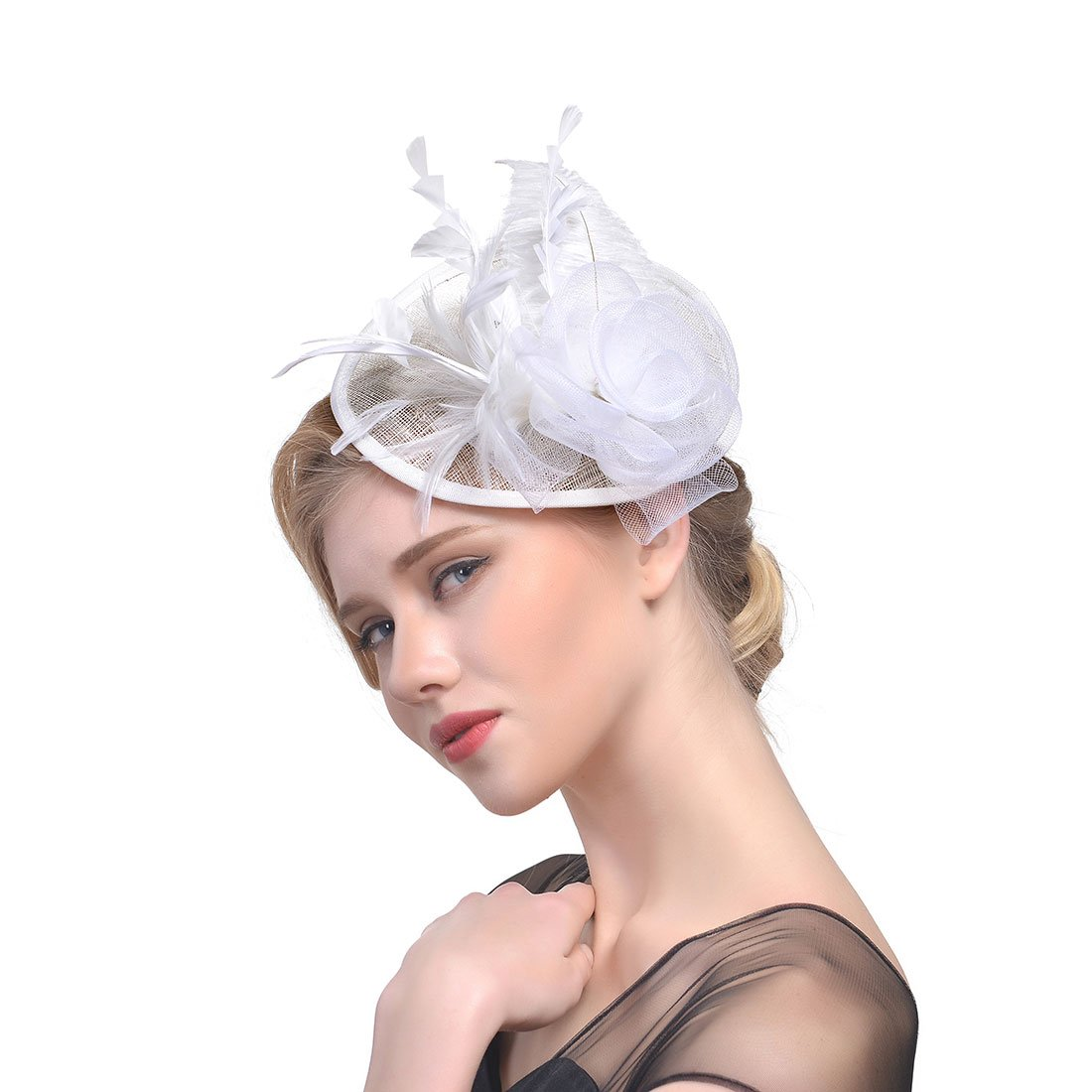 Flower Prom Party Headpieces Feather Fascinator Top Hat for Women (White)