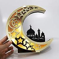 Ramadan Mubarak Decorations, Eid Mubarak Mirror Gold Moon Hollow LED Light, LED Moon Light for Muslim Islam, Home Party…