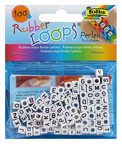 folia 33903Rubber Loops Letters Beads Pack of 100White