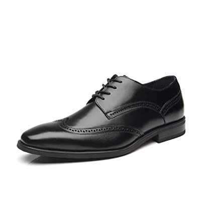 La Milano Men's Dress Shoes Leather Oxford Wingtip Lace Up Business Casual Comfortable Dress Shoes for Men | Oxfords