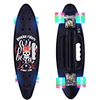 ChromeWheels Skateboard 23 inch Complete Skate Board Mini Cruiser with LED Light Up Wheels for Kids Boys Youths Beginners