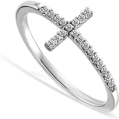 USA Seller SideWay Cross Ring Genuine Sterling Silver 925 Clear CZ 5 mm Size 4