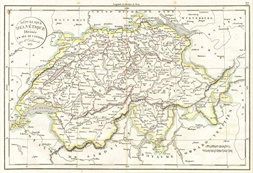- Historic Map | Delamarche Map of Switzerland, 1832 | Historical Antique Vintage Decor Poster Wall Art | 16in x 24in