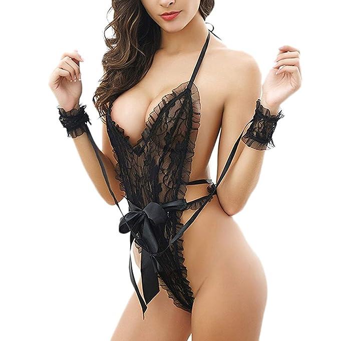 2e1205fa9b3 YeeHoo Babydoll, Lencería de Encaje para Mujer Capa exótica de Encaje  Perspectiva Negra Pijama: Amazon.es: Ropa y accesorios