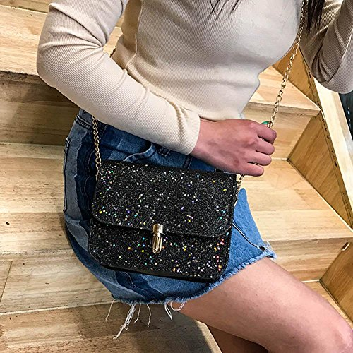 Crossbody Chain Messenger PU Sequins Everpert Shoulder Bags Black Women Shining Handbags tw6H55qZ0