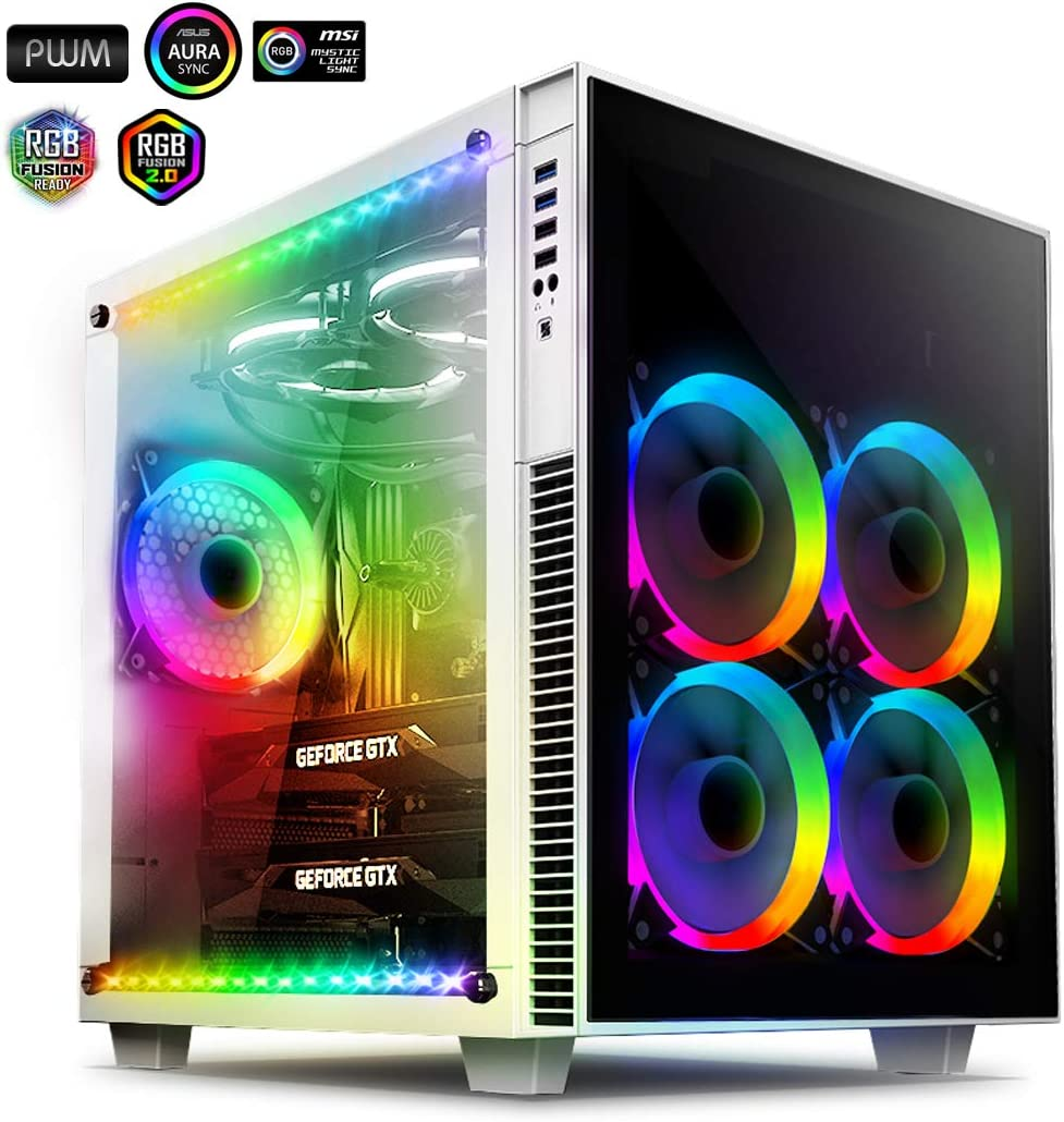 anidees AI Crystal Cube AR V3 Dual Chamber Tempered Glass EATX/ATX PC Gaming Computer Case, Water-Cooling Ready, Steel Structure, w/ 5 RGB PWM Fans / 2 LED Strips - White AI-CL-Cube-W-AR3