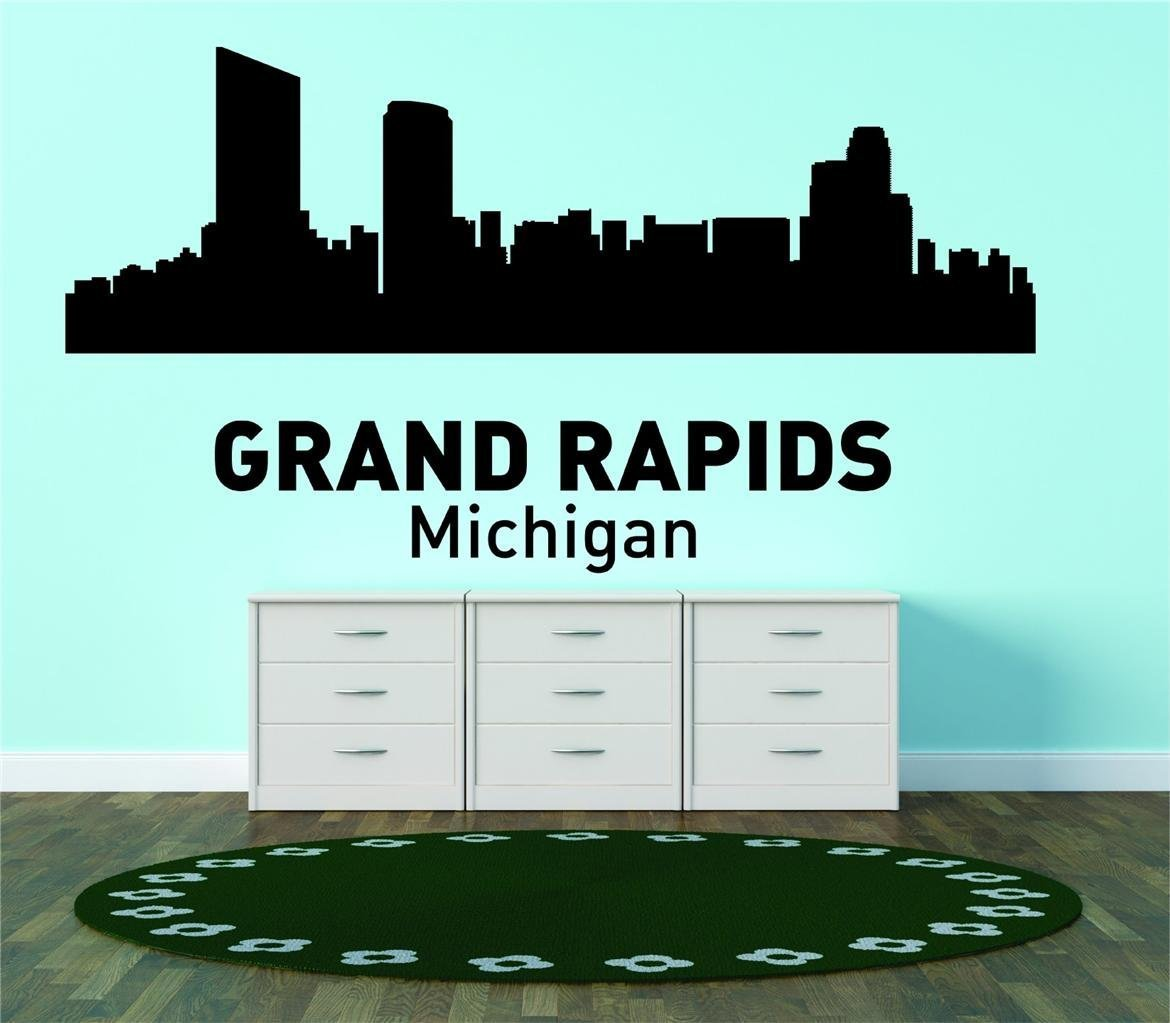 Grand rapids michigan united states major city geographical map landmark living room bedroom home decor picture art graphic design mural image vinyl wall