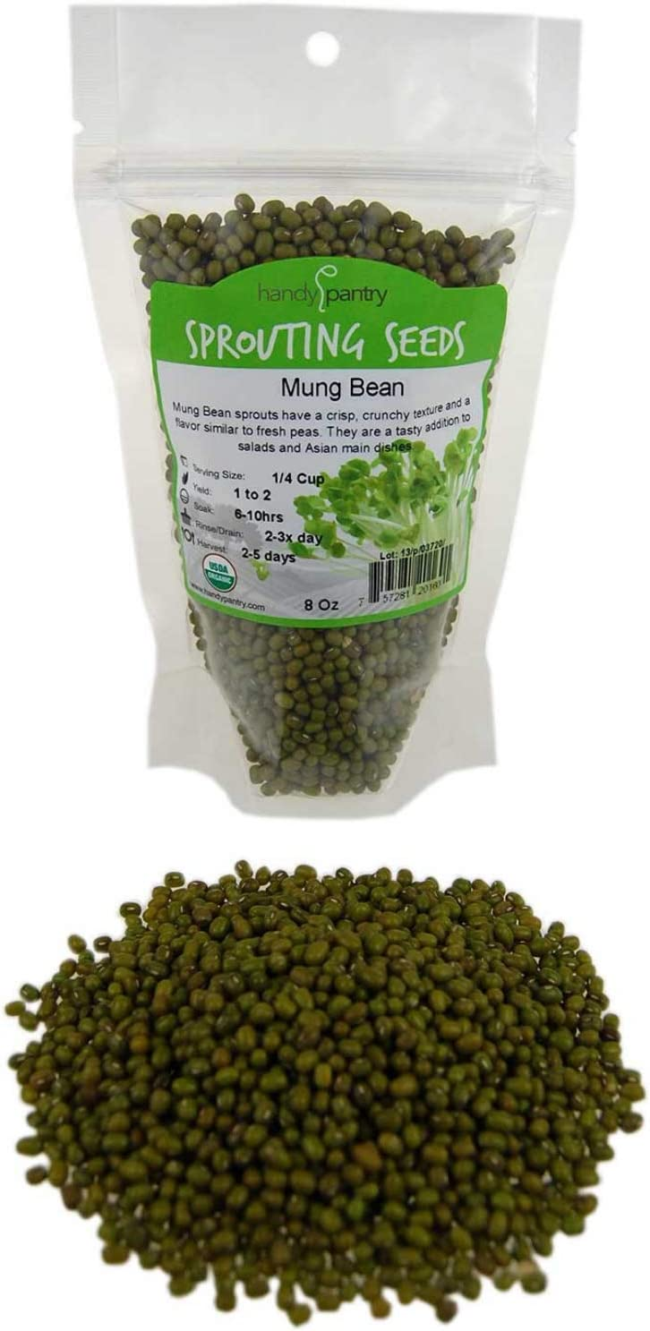 Mung Bean Sprouting Seed: 8 Oz - Organic, Non-GMO - Handy Pantry Brand - Dried Mung Beans for Sprouts, Garden Planting, Chinese & Asian Cooking, Soup & More