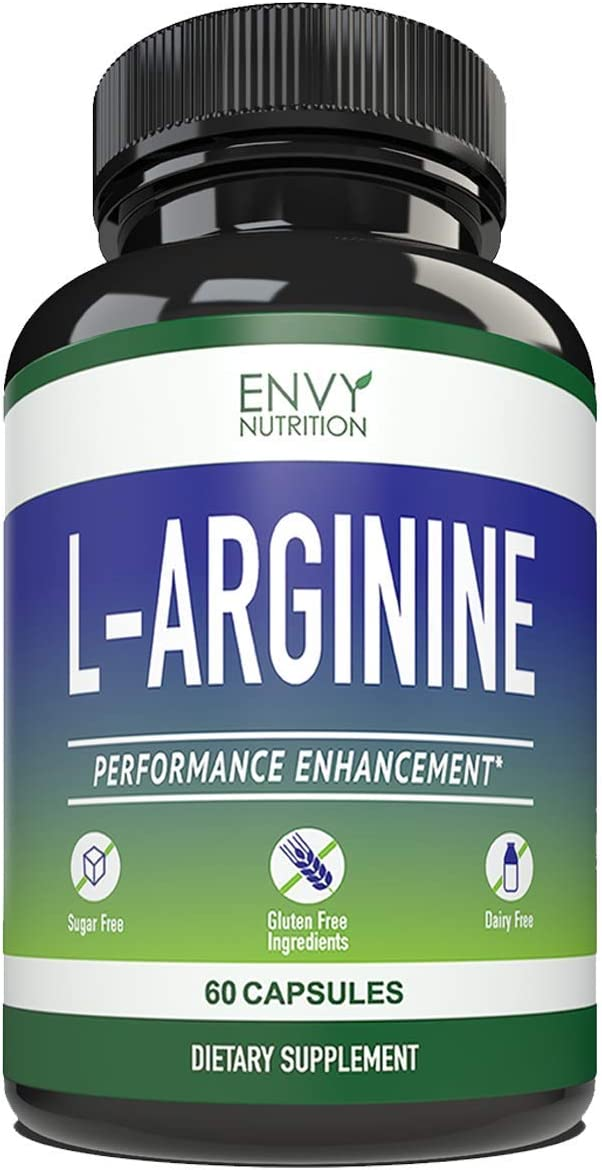L- ARGININE – Performance Enhancement Supplements for Muscle Growth, Vascularity, Endurance and Heart Health – 60 Capsules.