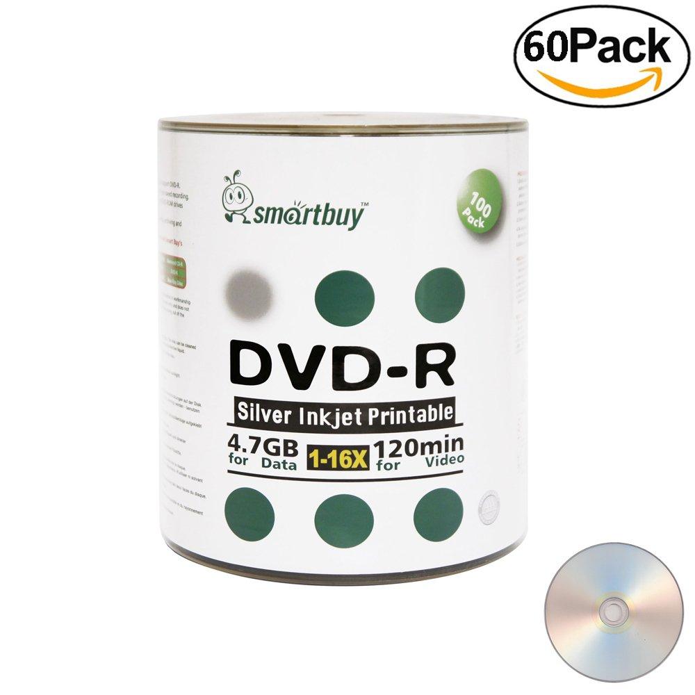 Smartbuy 4.7gb/120min 16x DVD-R Silver Inkjet Hub Printable Blank Media Data Record Disc (6000-Disc)
