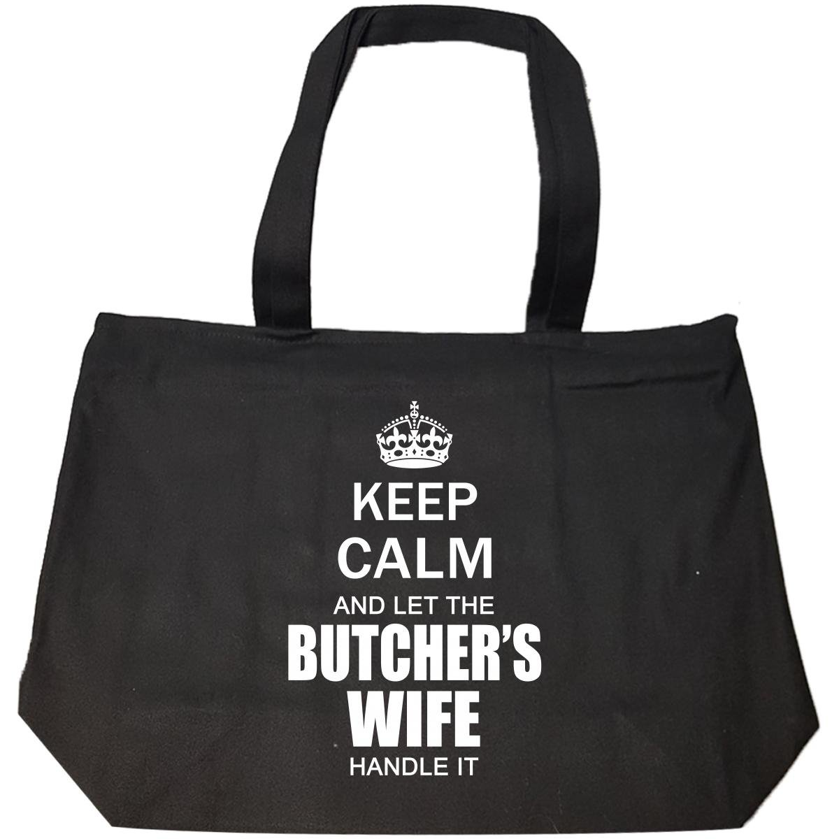 Keep Calm And Let The Butchers Wife Handle It Funny Wedding - Tote Bag With Zip by Shirt Luv (Image #1)