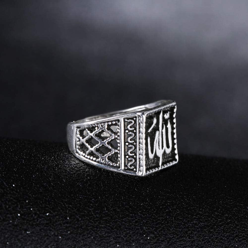 Chandler Mens Religious Islam Muslim Allah God Ring for Men Vintage Oxidized Silver Tone Arabian Jewellery
