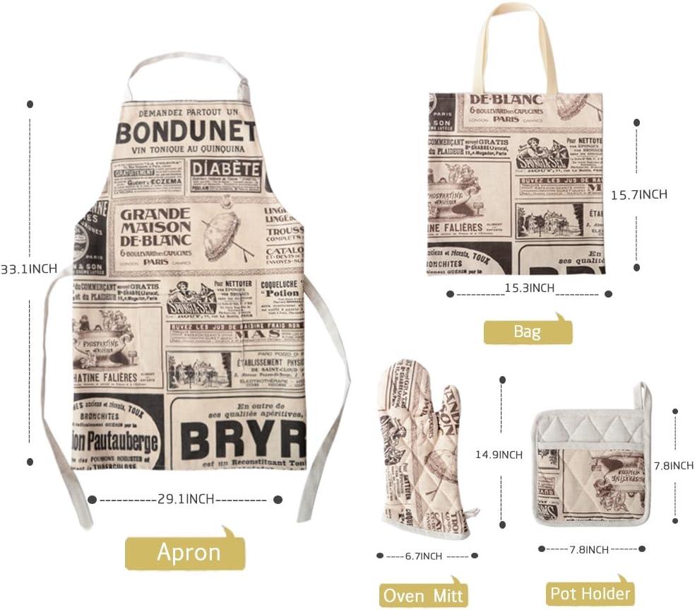 OiseauVoler Printed Apron Set With Oven Mitt, Pot Holder, Gift Bag, Adjustable Neck Apron for Men Women Chef Cooking Baking Gardening