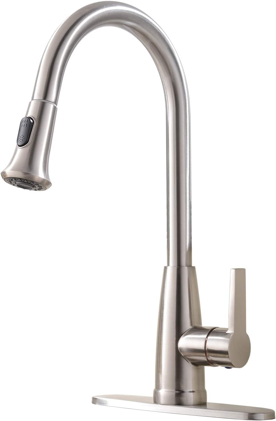 Hotis Modern Brushed Nickel Single Handle Kitchen Faucet,Kitchen Sink Faucet with Plate