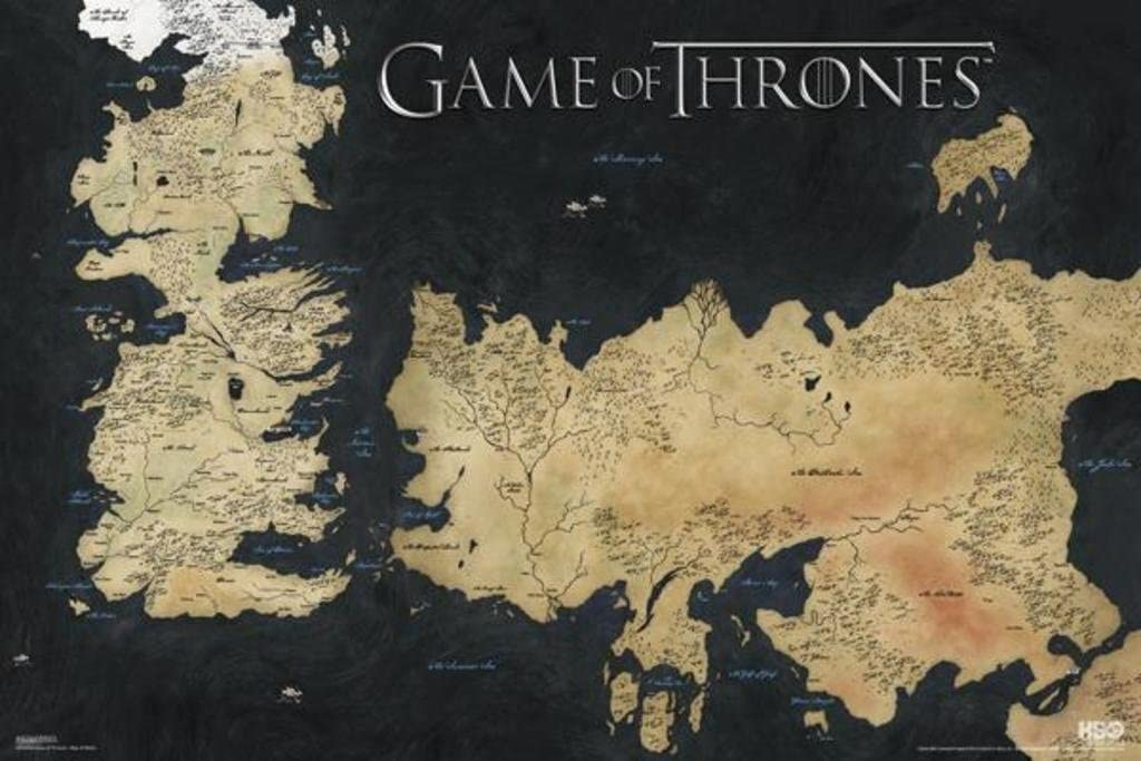Game Of Thrones Map Of The World Amazon.com: Game of Thrones World Map Westeros and Essos TV Poster