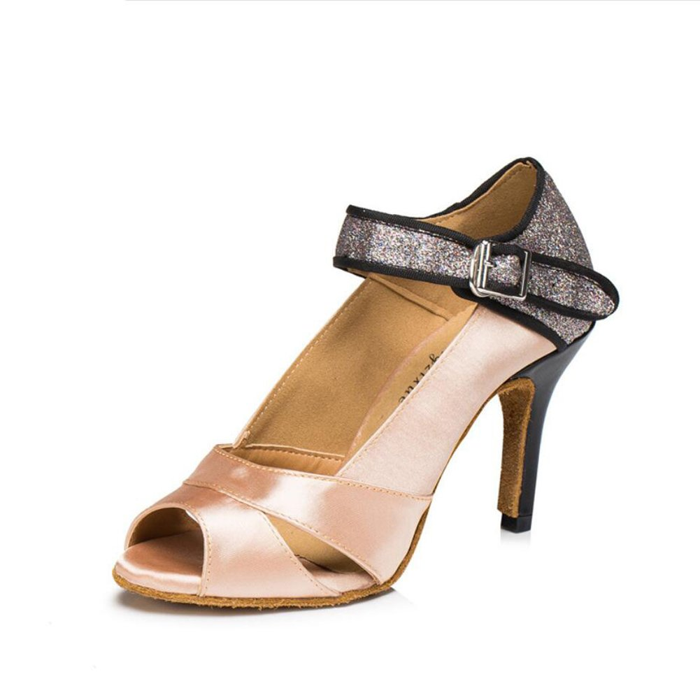 XUE Damen Latin Schuhe/Ballroom Schuhe Satin/Seide Sandale Indoor/Professional Schnalle Ferse Tanzschuhe Party  Abend Lila, Farbe (Farbe : EIN, Grouml;szlig;e : 34)  34|Ein