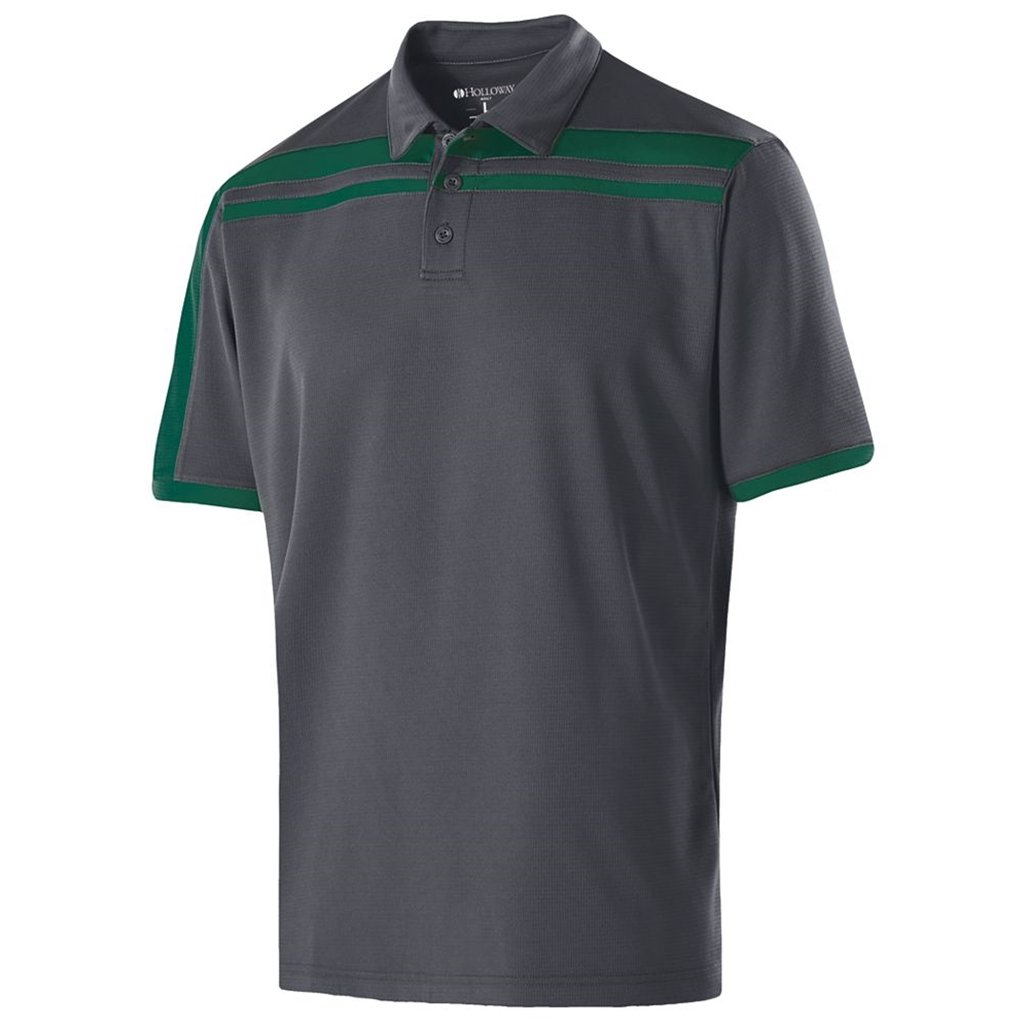Holloway Dry-Excel Mens Charge Polo (XX-Large, Carbon/Forest) by Holloway