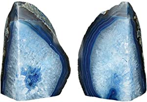 JIC Gem 6 to 8 Lbs Agate Bookends Dyed Blue Polished 6 to 8 Lbs Agate Bookends Dyed Blue Polished 1 Pair with Rubber Bumpers for Office Décor and Home Decoration