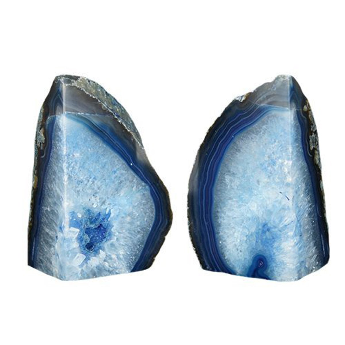 JIC Gem 3 to 4 Lbs Agate Bookends Dyed Blue Polished 1 Pair with Rubber Bumpers for Office Décor and Home Decoration by JIC Gem