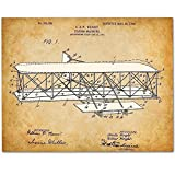 vintage airplane blueprint - Wright Brothers Flying Machine - 11x14 Unframed Patent Print - Great Gift for Pilots
