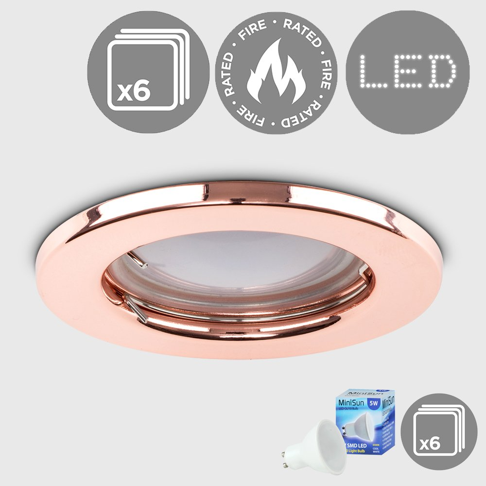 Pack of 6 - MiniSun Modern Fire Rated Polished Copper Effect GU10 Recessed Ceiling Downlights/Spotlights - Complete with 5W GU10 Cool White LED Bulbs