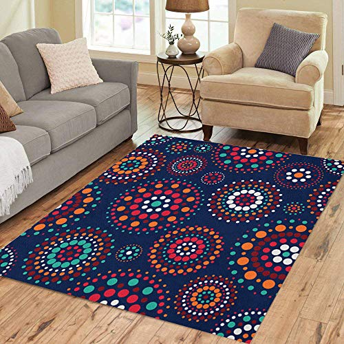 Pinbeam Area Rug Red Pattern Concentric Circles on Dark Blue Green Home Decor Floor Rug 2' x 3' Carpet