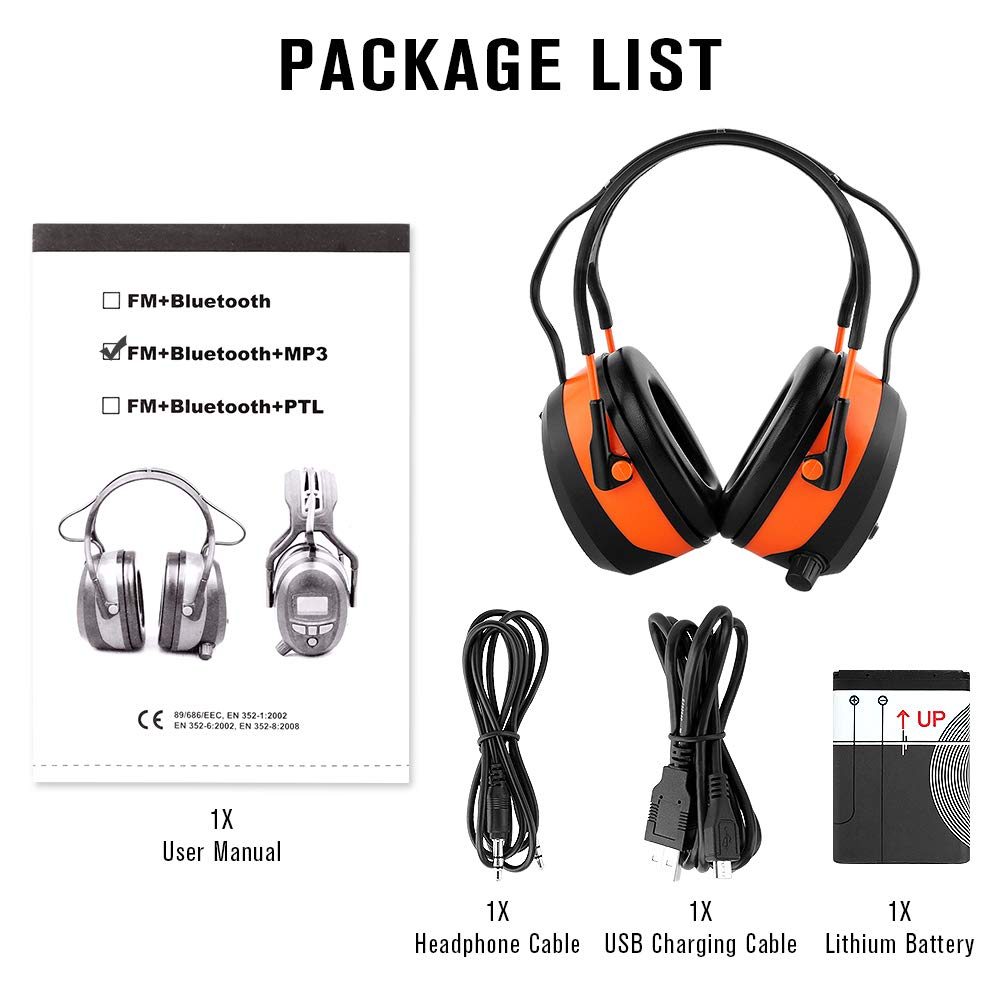 FM MP3 Bluetooth Radio Headphones Wireless Cancelling Headphones with 4GB SD Card Built-in Mic Electronic Noise Reduction Safety Ear Muffs Protection for Lawn Mower Work by WULFPOWERPRO by WULFPOWERPRO (Image #8)