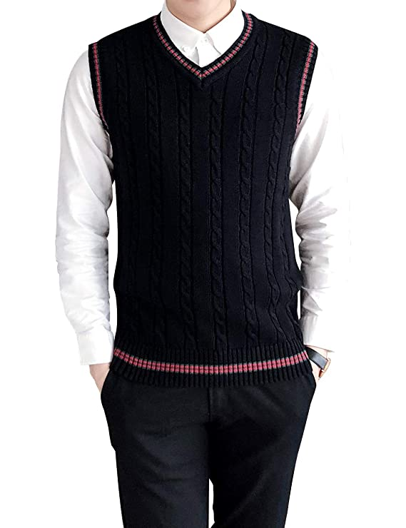 Edwardian Men's Fashion & Clothing TOPTIE Mens V-Neck Cotton Cable Knit Sweater Vest Slim Fit Casual Waistcoat $18.99 AT vintagedancer.com