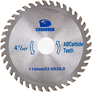 4 inch 40 Tooth Wood Cutting Disc Carbide Tipped Circular Saw Blade for Cutting Hard & Soft Wood with 3/4inch Arbor