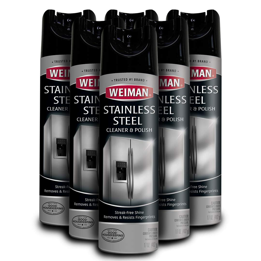 Weiman Stainless Steel Cleaner and Polish - 17 Ounce (6 Pack) - Non-Toxic Protects Appliances from Fingerprints and Leaves a Streak-less Shine for Refrigerator Dishwasher Oven Grill by Weiman