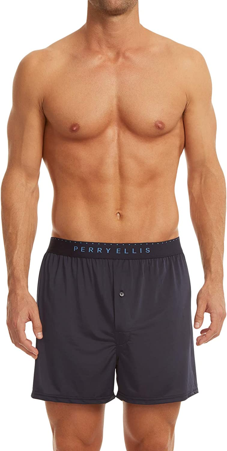 Perry Ellis Men's Luxe Solid Boxer Shorts