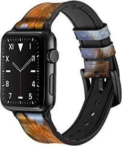 CA0050 Fox Leather & Silicone Smart Watch Band Strap for Apple Watch iWatch Size 38mm/40mm