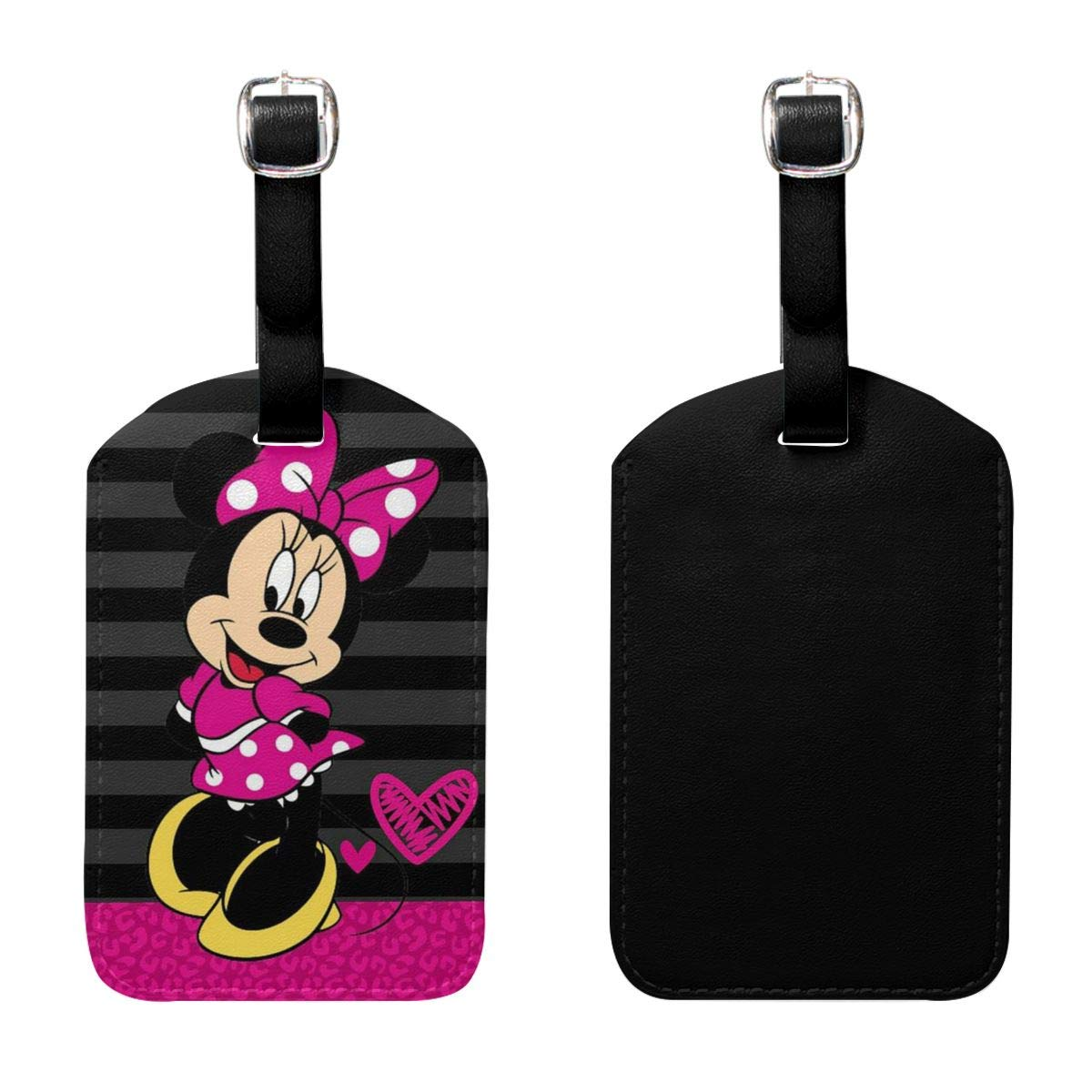 Set of 2 PU Leather Luggage Tags Cute Minnie Mouse Suitcase Labels Bag Adjustable Leather Strap Travel Accessories
