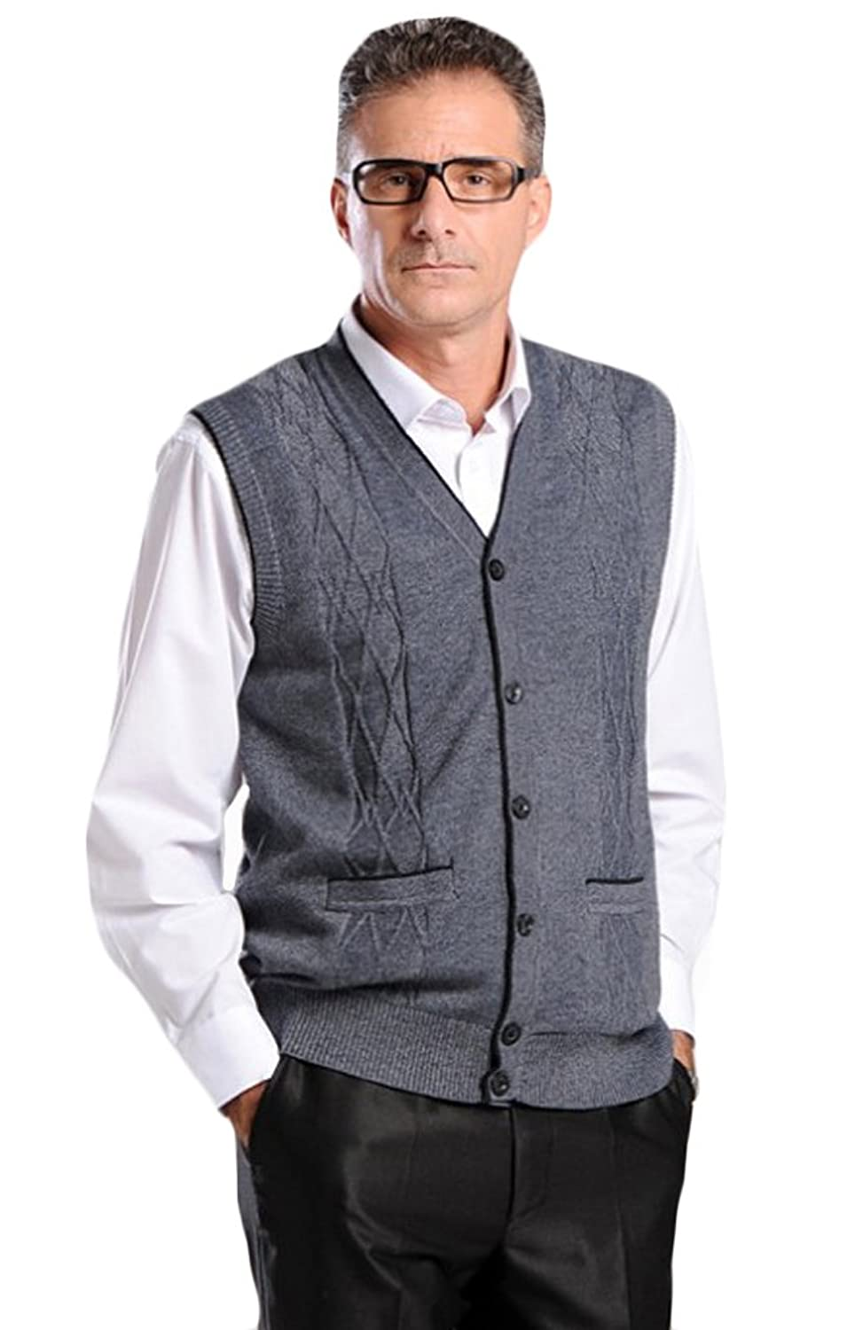 Vogstyle Men's Cardigan Vest Knitwear with Front Buttons Style 1 Dark Gray XL