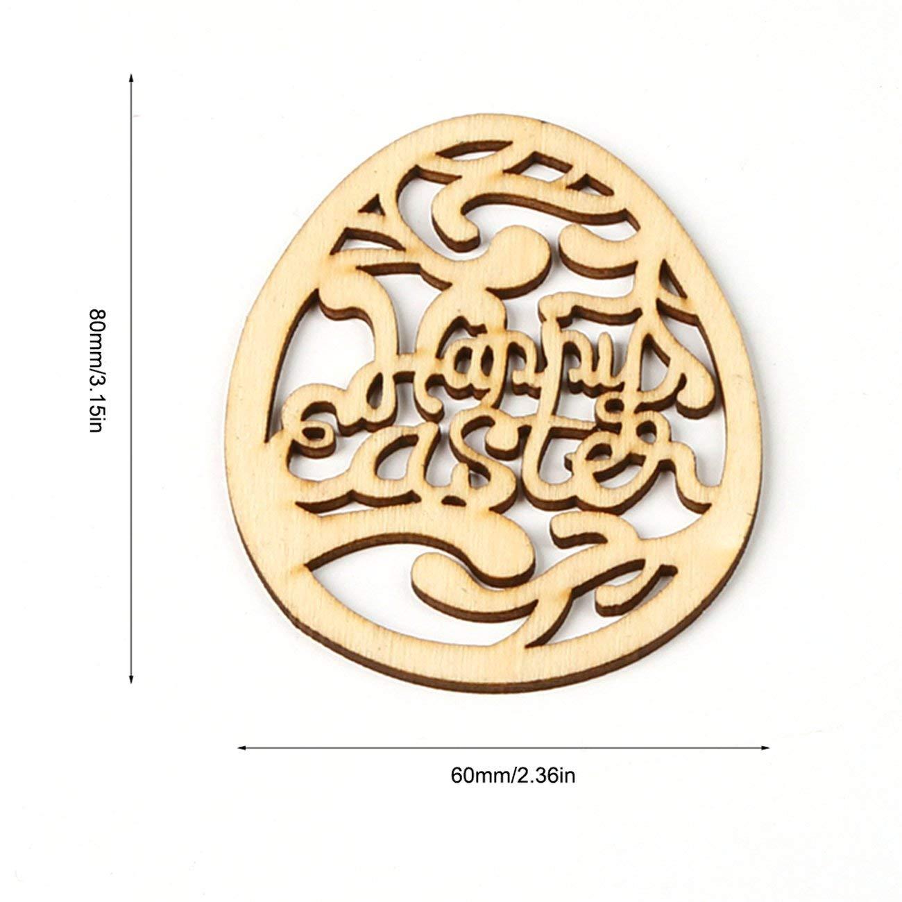 Legno 10 Pezzi Happy Easter Eggs Decorazioni pasquali in Legno per la casa Fai da Te Trucioli di Legno Uova di Pasqua Accessori per Appendere a Parete JM01161