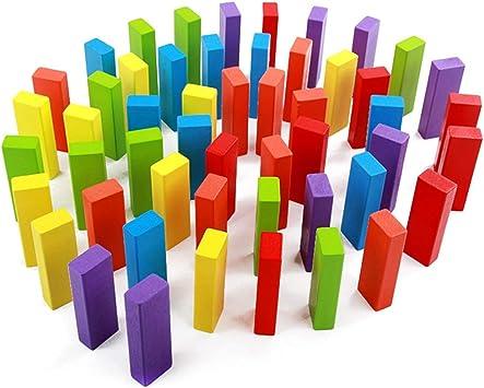 ZPWHOME Dominó de Colores Jenga Classic Game Bloques de Construcción Educativos y Divertidos for Niños Apilamiento de Bloques de Madera de Pino Premium Juegos Familiares - 54 Piezas: Amazon.es: Hogar