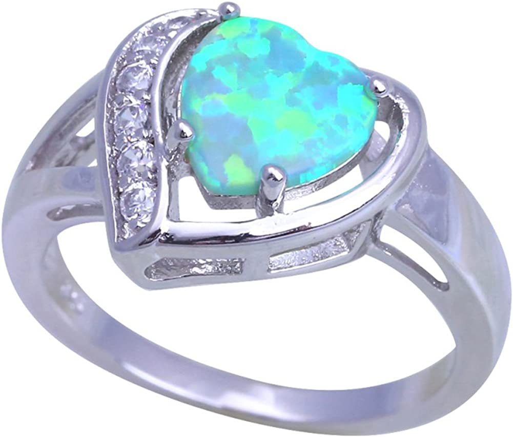 T-Ring Desgin Heart Green Opal Rings Women Wedding Ring Engagement Bridal Rings Size #6#7#8#9