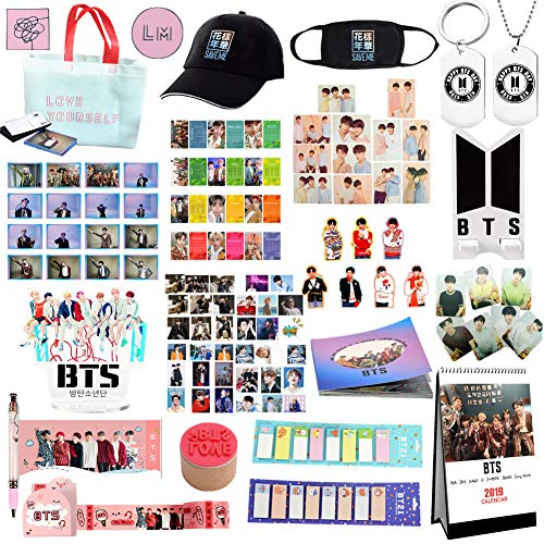 - Youyouchard 100PCS BTS Bangtan Boys BTS Merchandise Set BTS Accessories BTS Photocard Necklace Keychain Stickers Calendar 2019 Stationery