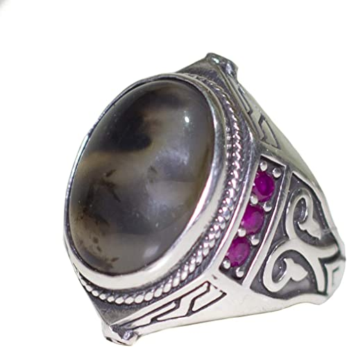 Falcon Jewerlry Sterling Silver Men Ring Agate Natural Gemstone